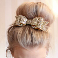 Women Girls Glitter Gold Bowknot Barrette Spring Clip Hair Accessories Xmas Gift