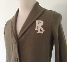 Ralph Lauren Women's Cardigan Tan Long Sleeve Sweater w/ RL logo Size Medium