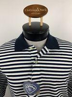 Callaway Golf Sport Mens Sz L Navy Blue Stripe Golf Polo Shirt Cotton
