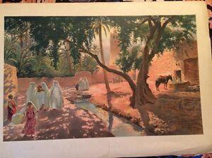 ORIENTALISME. DANS L'OASIS DE SIDI  MALEK par Maurice ROMBERG, Vers 1900.
