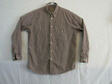 Beretta Mens Long Sleeve Shirt Button Front Brown Checkered Pattern