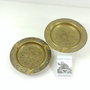 Brass Ashtrays with Tooled Embossed Raised Relief Floral Pattern Vintage
