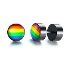 Women Rainbow Color Gay LGBTQ Lesbian Pride Dumbbell Earrings Ear Studs Enamel