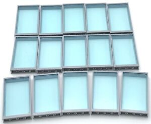 Lego 15 New Transparent Light Blue Windows with Light Bluish Grey Frames House