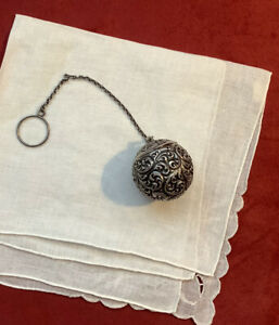 Beautiful Antique Victorian Rare Fradley Sterling Silver Tea Ball Repousse  (VH)