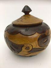 Handmade Haitian hand carved turned wooden wood jar / urn Haiti