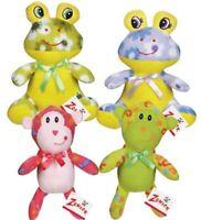 "4 Dog Toys Green/Pink Monkey Lavender/Green Frog Fleece Cuddler Squeaker 7"" 4pk"