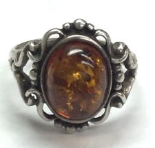 Vintage Oxidized Sterling Silver Genuine Amber Swirl Loop Dotted Cocktail Ring