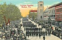 MADISON WISCONSIN~UNIVERSITY BATTALION 1910 POSTCARD