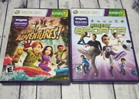 Lot Kinect Sports  & Kinect Adventures Microsoft XBox 360 2 Game  Set  Complete