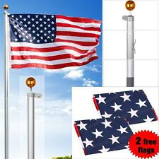 25 Ft Aluminum Sectional Yard Flag Pole Kit Silver With Free 2PC American Flags