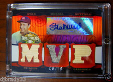 Stan Musial 2006 Topps Triple Thread 6/18  Autographed Triple Game Used Card 1/1