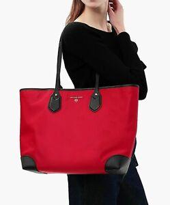 Michael Kors Eva Bright Red Nylon Top Zip Large Tote Shoulder Bag