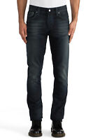 Nudie Herren Slim Fit Jeans Hose |Grim Tim Organic Black Indigo