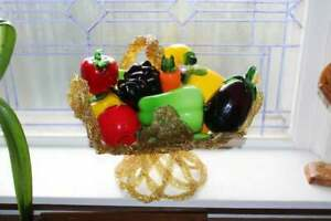 Vintage Murano Style Glass Fruit Vegetables in a Mid Century Basket