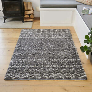 Grey Ivory Aztec Shaggy Rug | Small Large Living Room Rugs | Tribal Hall Runner