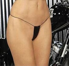 Elegant Moments Black Leather Micro Thong G String Erotic One Size 8 - 12 #2BX
