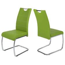 Schwingstuhl Flora 4er Set Stuhl Esszimmerstuhl in grün Naht weiß und Chrom