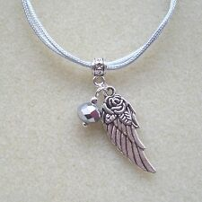 Angelwing Rose Charm and Silver Crystal Silver Grey Cord Bracelet in Gift Bag