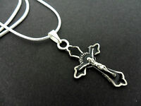 A LOVELY BLACK/SILVER COLOUR CROSS/CRUCIFIX NECKLACE.  NEW.