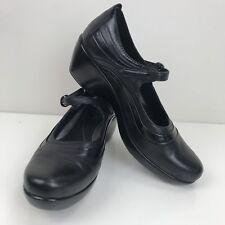 Arias Black Leather Mary Jane Cloud Shoes Buckle Size 9.5 M Platform 10005593