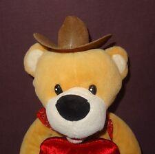"Cowboy Teddy Bear Heart Plush Stuffed Animal 10"" Im A Little Bit Country Dan Dee"
