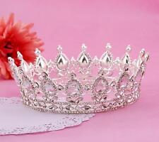 Vintage Queen Tiara Full Crown Rhinestone Headpiece Wedding Hair Accessories JIA