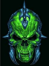 EVIL GREEN/BLUE TRIBAL SKULL DESIGN A4 IRON ON TRANSFER 11X8 GOTHIC SKULL A4