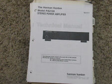 HARMAN KARDON PA2100 STEREO POWER AMPLIFIER ORIGINAL SERVICE TECHNICAL MANUAL