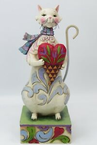 Cozy Heart Jim Shore Enesco Kitty Cat w/ Scarf Holding Decorated Heart Figurine