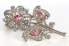 Brooch Pin - Flower Filigree - Pink & Blue Crystal Rhinestones - Silver Tone