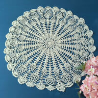 Vintage Hand Crochet Cotton Lace Doily Round Table Cloth Cover Topper 50-55cm