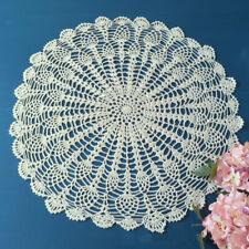 Vintage Hand Crochet Cotton Lace Doily Round Table Cloth Cover Topper 50-55cm