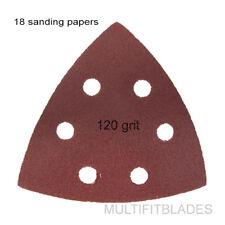 18 Pack: Large Triangular Size 120 Grit Velcro Hook & Loop Sanding Papers