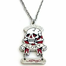 ED HARDY Necklace DEATH OR GLORY Dog Tag Skeleton NEW w Bag SS
