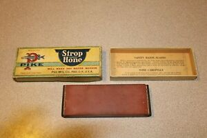 RARE Vintage Pike U.S.A. Straight Razor Knife Sharpener Hone Strop & Orig. Box