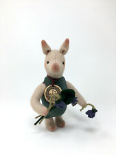 "R. John Wright PIGLET WITH VIOLETS 7"" Mohair Wool Felt - Disney Winnie the Pooh"