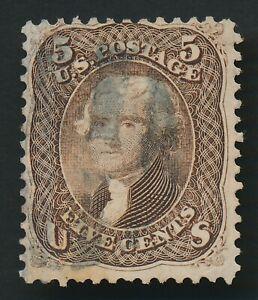 US #76a 1863 5c BLACKISH-BROWN JEFFERSON FINE USED