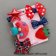 Girls Kids Hair Clip Flower Bowknot Bobby Pin Toddler Baby Hair Accessory 5/6Pcs