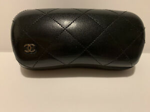 Chanel Sunglasses Eyeglasses Hard Case Quilted Black Leather 6.25 X 2.75 X 2