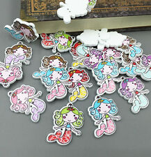 50pcs Wooden Sewing Scrapbooking Buttons Mermaid  2 Holes Crafts Decorative 33mm