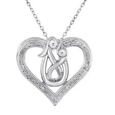 Mom and Baby Heart Pendant Necklace
