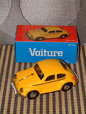 ALL TIN FRICTION DRIVEN VOLKSWAGEN, VW, BEETLE, SEDAN. NOS IN YELLOW W/BOX.