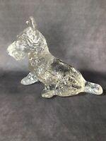 "Vintage Crystal Clear Glass Scottie 6"" Figurine - Scottish Terrier Dog"