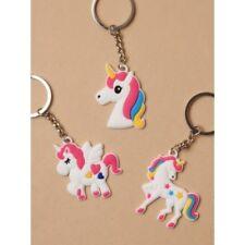 Pack of 3 Unicorn Keyrings Bag Charm Lunch Box Charms Novelty Keyring