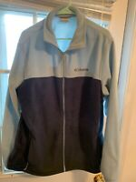 Columbia Men's Large Tall Full Zip Two Tone Long Sleeve Fleece EUC Sky Blue