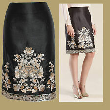 MONSOON Black Eden Dupion Embellished Sequin Pencil Formal Skirt UK 8 £75