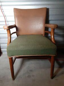 Vintage Teak Wood Vinyl Sitting Chair