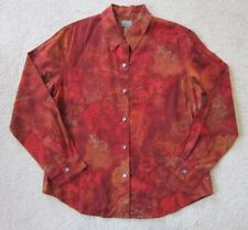 Additions by CHICOS Size 1 Women's Medium BLOUSE Burnt Orange Paisley Print L/S