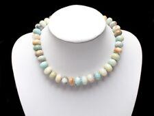 wunderschöne Halskette Edelsteinkette aus Amazonit, Rondelle, Neu
